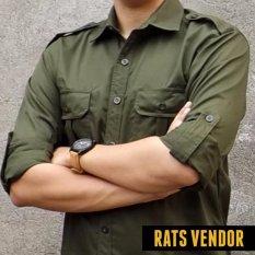 Jual Rats Vendor Kemeja Outdoor Pdl Lengan Panjang Hijau Army Rats Vendor Asli