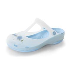 Lei Biya Sandal Model Crocs Musim Semi atau Musim Panas Sepatu Wanita Pantai Sol Tebal (Biru Muda)