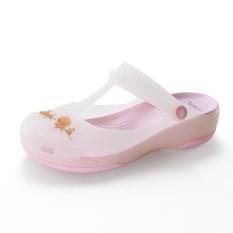 Lei Biya Sandal Model Crocs Musim Semi atau Musim Panas Sepatu Wanita Pantai Sol Tebal (Merah Muda Warna)