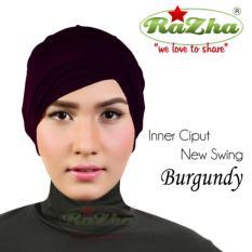 Razha Inner Ciput Swing Daleman Jilbab Kerut Ala Risty Tagor Burgundy