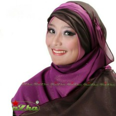 Razha Shawl Metalic Cerutti  Pashmina Jilbab 2 in 1 Choco Purple