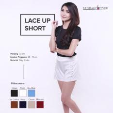 Ready Bawahan Wanita Murah Surabaya Lace Up Short White Silky Scuba
