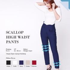 Ready Bawahan Wanita Murah Surabaya Scallop High Waist Pants Navy