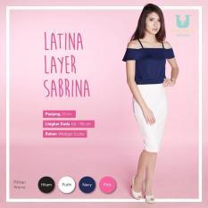 Ready Blouse Wanita Murah Surabaya Latina Layer Sabrina Navy Wedges