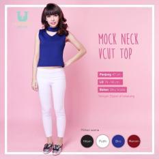 Ready Blouse Wanita Murah Surabaya Mock Neck V Cut Top Blue Silky
