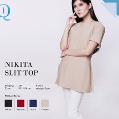 Ready Blouse Wanita Murah Surabaya Nikita Slit Top Cream Wedges Super