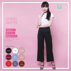 Ready Celana Wanita Murah Surabaya Elevated Culottes Black Silky Scuba