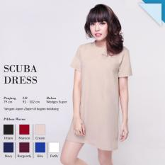 Ready Dress Wanita Murah Surabaya Scuba Dress Cream Wedges Super