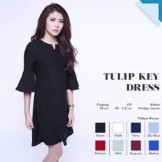 Ready Dress Wanita Murah Surabaya Tulip Key Dress Black Wedges Import