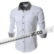 Ready Kemeja Pria Murah Surabaya Zac White Cotton Stretch
