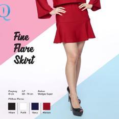 Ready Rok Wanita Murah Surabaya Fine Flare Skirt Maroon Wedges Super