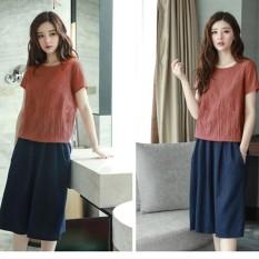 Toko Ready Stock 2 Pieces Wanita Korea Gaun Fashion Linen Katun Longgar Gaun Midi Kasual Pinggang Elastis Lengan Pendek Dress Setelan Intl Lengkap Di Tiongkok