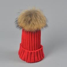 Real 15 Cm Fur Pom Pom Knit Beanie Topi untuk Wanita Dewasa Womens Girls Soft Acrylic Wol Musim Dingin Hangat Caps -Intl