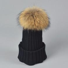 Real 15 Cm Fur Pom Pom Knit Beanie Topi untuk Wanita Dewasa Womens Girls Soft Akrilik Wol Musim Dingin Hangat Caps -Intl
