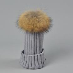 Real 15cm Fur Pom Pom Knit Beanie Hats for Ladies Adult Womens Girls Soft Acrylic Wool Winter Warm Caps - intl