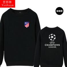 Nyata Madrid Liga Champions Baju Sepak Bola Leher Bulat Kaos Sweater (Atletico Baru Standar Hitam)