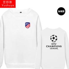 Nyata Madrid Liga Champions Baju Sepak Bola Leher Bulat Kaos Sweater (Atletico Baru Standar Putih)