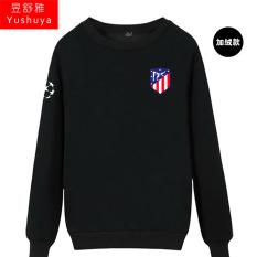 Nyata Madrid Nyata Madrid Tambah Beludru Liga Champions Baju Sepak Bola Kaos Sweater (Atletico Baru Standar Hitam)