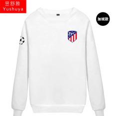 Nyata Madrid Nyata Madrid Tambah Beludru Liga Champions Baju Sepak Bola Kaos Sweater (Atletico Baru Standar Putih)