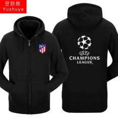 Nyata Madrid Nyata Madrid Tambah Beludru Liga Champions Baju Sepak Bola Pria atau Wanita Kaos Sweater Berkerudung Ritsleting Kardigan (atletico Hitam)