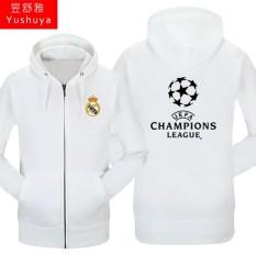 Nyata Madrid Nyata Madrid Tambah Beludru Liga Champions Baju Sepak Bola Pria atau Wanita Kaos Sweater Berkerudung Ritsleting Kardigan (nyata Madrid Nyata Madrid Putih)