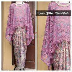Cuci Gudang Realpict Dan New Collection Setelan Kebaya Cape Brukat Klasik Pink