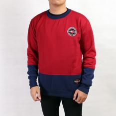Harga Rebel Id Sweater Sweatshirt Pria Maroon Combi Bluenavy Termurah