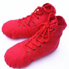 Merah Warna Orang Dewasa Anak Canvas Ballet Senam Latihan Yoga Lembut Sepatu Tari I112-Intl