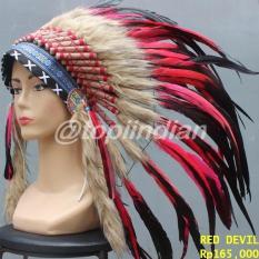 Red Devil Rooster Topi Indian Warbonnet - Mziv7u