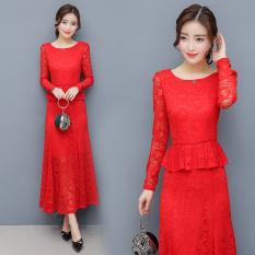 Beli Red Door Acara Bahagia Merah Model Musim Semi Dan Musim Gugur Lengan Panjang Gaun Gaun Pengantin Mermaid Gaun Merah Murah Tiongkok