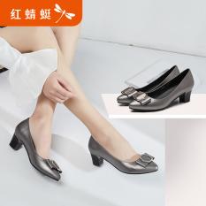REDDRAGONFLY Sepatu Heels Kulit Sepatu Musim Panas Baru Menunjuk