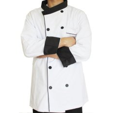 RedPoll Executive Chef Trim Kontras Jacket (Putih)-Intl