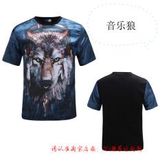 Ulasan Lengkap Reds Sutra Cekatan Model Sama Musim Panas Pria Dan Wanita Lengan Pendek T Shirt Musik Serigala