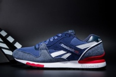 Reebok Sepatu Kasual Pria GL6000 Olahraga Sepatu Sepatu Lari Reebok Klasik Berjalan Sepatu (Biru dengan Kain Jeans)