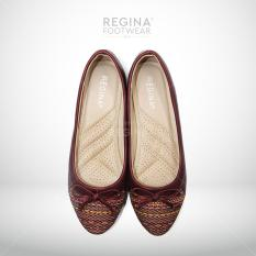 Regina Flat Shoes Motif Batik Pita Besar 1704-604 - Maroon Size 36/41