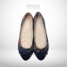 Jual Regina Flat Shoes Motif Batik Pita Kecil 1704 602 Blue Size 36 41 Branded