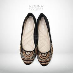 Beli Regina Flat Shoes Motif Bordir Garis 1704 605 Black Size 36 40 Murah