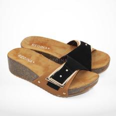 Regina Sandal Wedges Wanita 1704-013 - Black/Camel Size 36-40 HAK 5 cm
