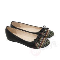 Cara Beli Regina Sepatu Flat Wanita Trepes Selop Flat Shoes Motif Batik Pita Besar 1704 604 Black Size 36 41