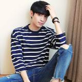 Harga Remaja Korea Longgar Lengan Kemeja Laut Bergaris Lengan Kelima Biru Baju Atasan Kaos Pria Kemeja Pria Online