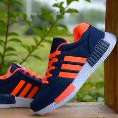 12 Remaja Laki-laki Non-slip Sepatu Sekolah Sepatu Sneakers (Jala-616 Oranye Biru) (Jala-616 Oranye Biru)