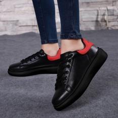 Renda Sol Tebal Kets Putih Sepatu Wedge (Hitam + Merah)