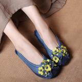 Beli Retro Asli Rajut Sepatu Wanita Biru Nyicil