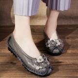 Beli Sepatu Kulit Datar Wanita Retro Abu Abu Abu Abu Dengan Kartu Kredit