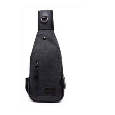 Harga Retro Kanvas Messenger Bag Shoulder Bag Chest Pack Hitam Baru Murah