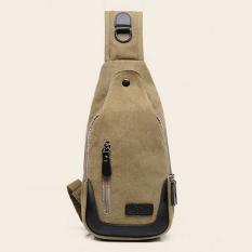 Retro Canvas Messenger Bag Shoulder Bag Chest Pack Khaki Indonesia Diskon 50