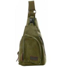 Spesifikasi Retro Kanvas Unisex Messenger Shoulder Sling Cross Body Chest Bag Army Green Cocotina