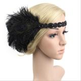 Diskon Retro Bulu 1920 S Flapper Headpiece Great Gatsby Kepala Rambut Band Fancy Dress Black Tiongkok