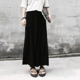 Review Toko Retro High Waist Pleated Half Body Maxi Skirts Black