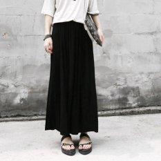 Toko Retro High Waist Pleated Half Body Maxi Skirts Black Yang Bisa Kredit